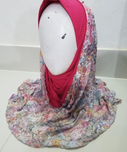 Pearl Net Hoodie Hijab - Deep Pink