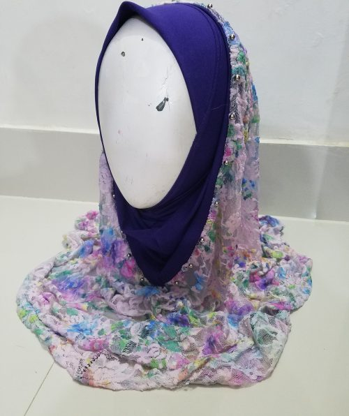 Pearl Net Hoodie Hijab - Violet