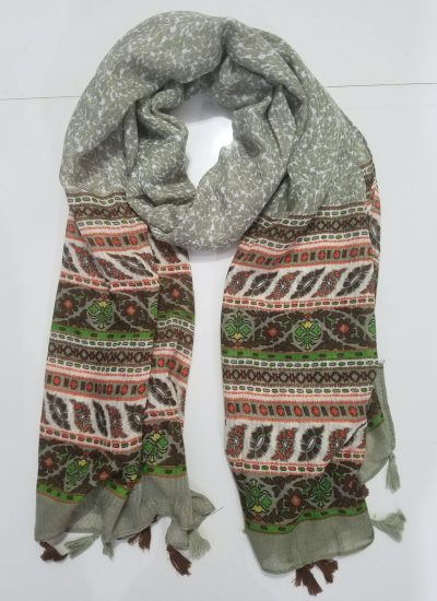Lawn Printed Scarf - Olive Green