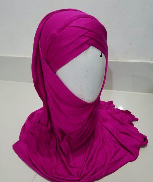 Criss Cross Instant Hijab - Deep Pink