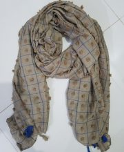 Checks and Tassels with Bubbles Lawn Scarf - Camel
