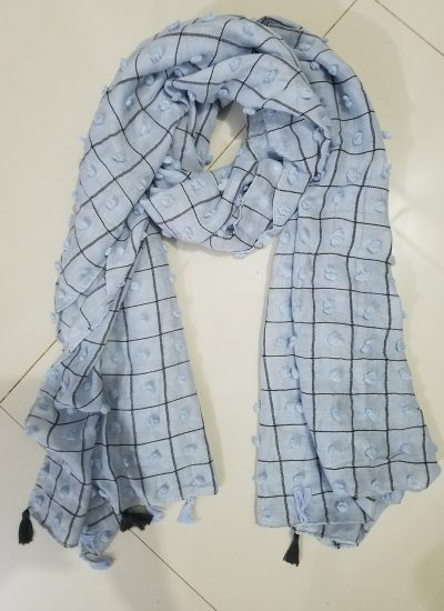 Checks and Tassels with Bubbles Lawn Scarf - Sky Blue