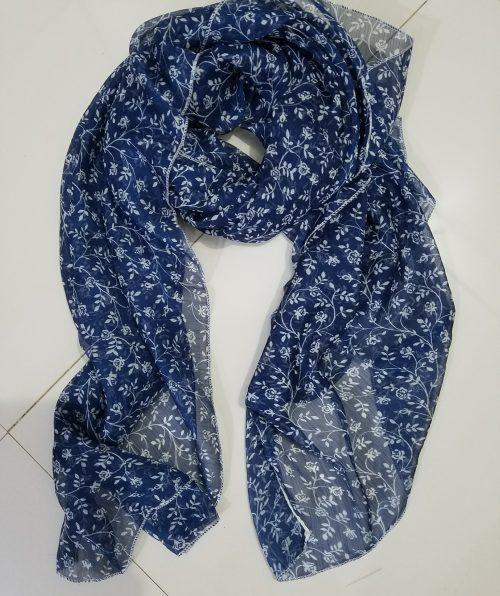 Chiffon Square Scarf - Floral Blue 2