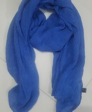 Crumbled Self Printed Scarf - Blue
