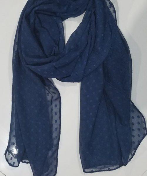 Chiffon Polka Dots Scarf - Navy Blue