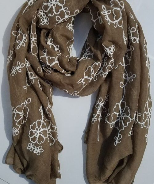 Embroidered Lawn Scarf - Mocha - Full Picture