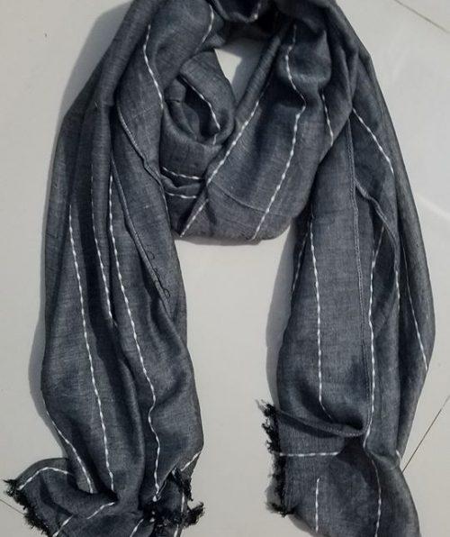Viscose Stripped Scarf - Dark Grey - Full Picture