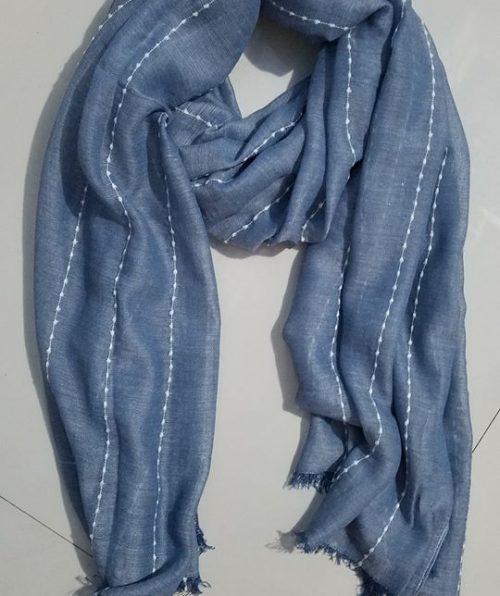 Viscose Stripped Scarf - Denim Blue - Full Picture