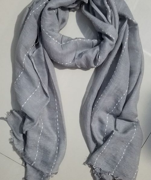 Viscose Stripped Scarf - Light Grey - Full Picture