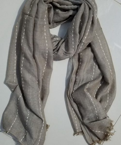 Viscose Stripped Scarf - Mocha - Full Picture