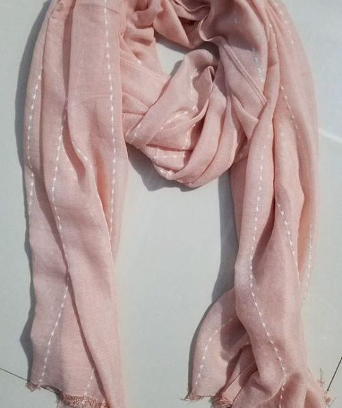 Viscose Stripped Scarf - Peach - Full Picture