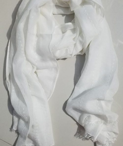 Viscose Stripped Scarf - White - Full Picture