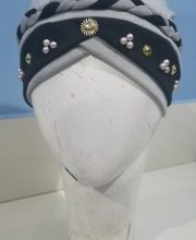 Criss Cross Pearl Full Cap - Grey - Front Picture