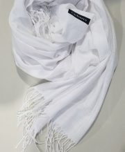 Cashmere Scarf With Tassels – White – Full Picture