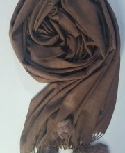 Cashmere Scarf with Pom Pom – Cigar Brown – Full Picture