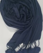 Cashmere Scarf with Pom Pom – Navy Blue – Full Picture
