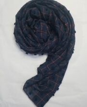 Checks and Tassels with Bubbles Lawn Scarf – Navy Blue – Full Picture