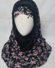 Pearl Net Hoodie Hijab with Cap – Design 1 – Front Picture