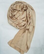 plain satin silk scarf coffee full picture