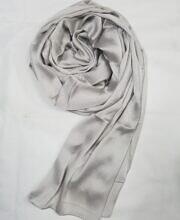 plain satin silk scarf light grey full picture