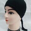 plain tie back bonnet cap black