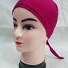 plain tie back bonnet cap deep pink