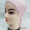 plain tie back bonnet cap light pink