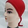 plain tie back bonnet cap red