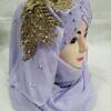 pearl ready to wear with fancy bunch purple